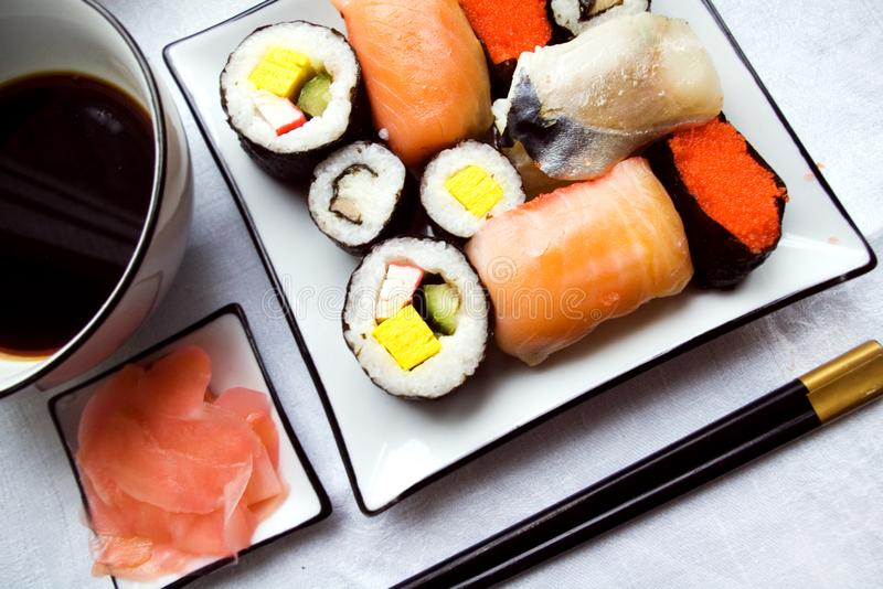 Assorted sushi on plate stock images