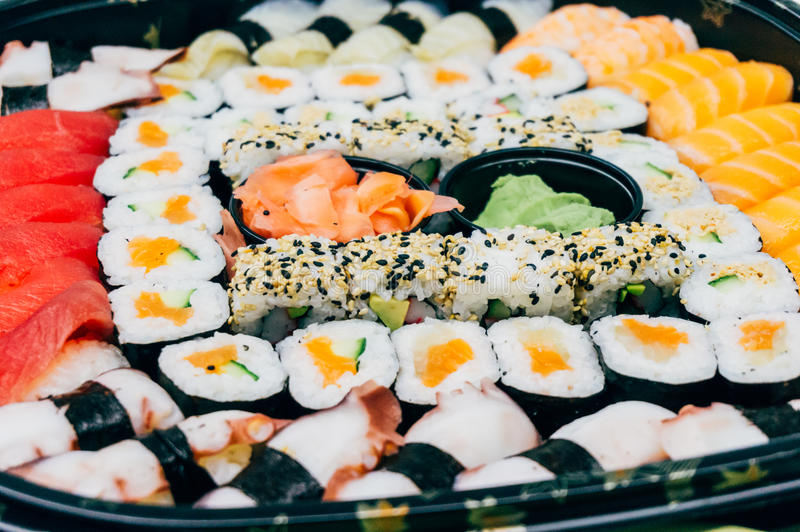 Assorted sushi plate royalty free stock images