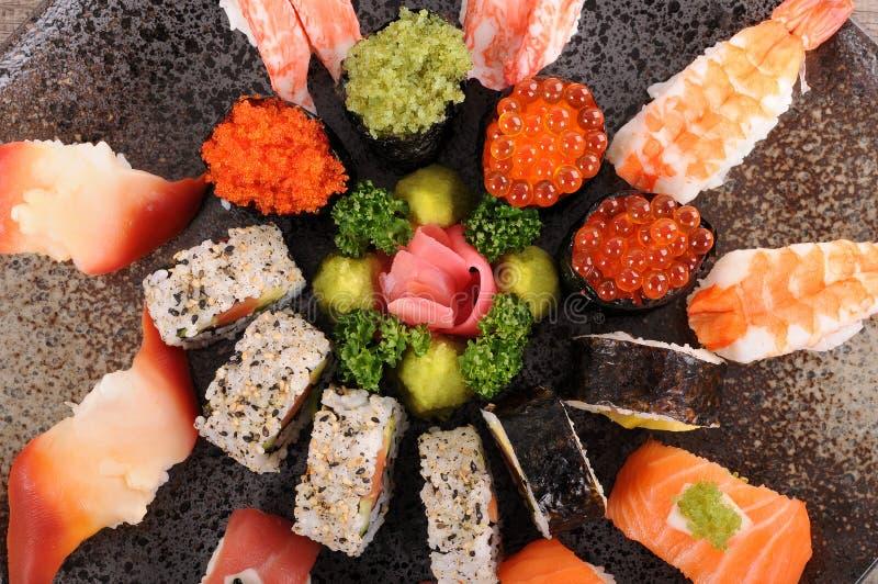Assorted sushi stock image