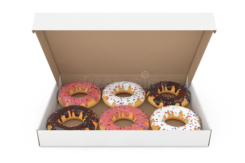 Assorted Sweet Donuts in a Paper Cardboard Box. 3d Rendering. Assorted Sweet Donuts in a Paper Cardboard Box on a white background. 3d Rendering stock images