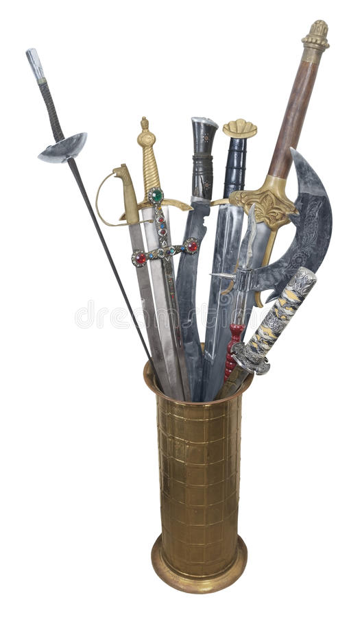 Download Assorted Swords In A Brass Stand Stock Images - Image: 25797074