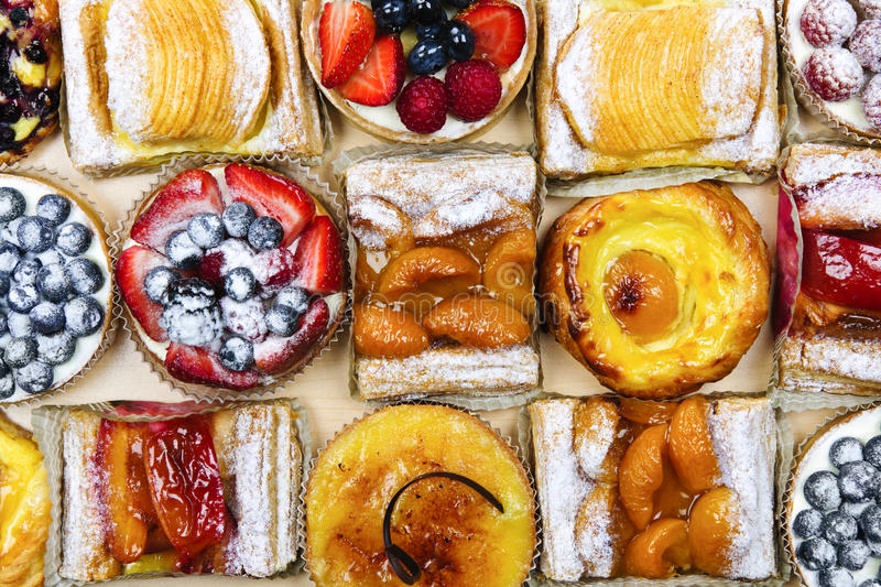 Assorted tarts and pastries stock image