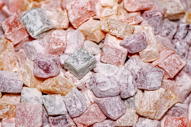 Assorted traditional turkish delight close up. Sugar coated soft candy. stock photography