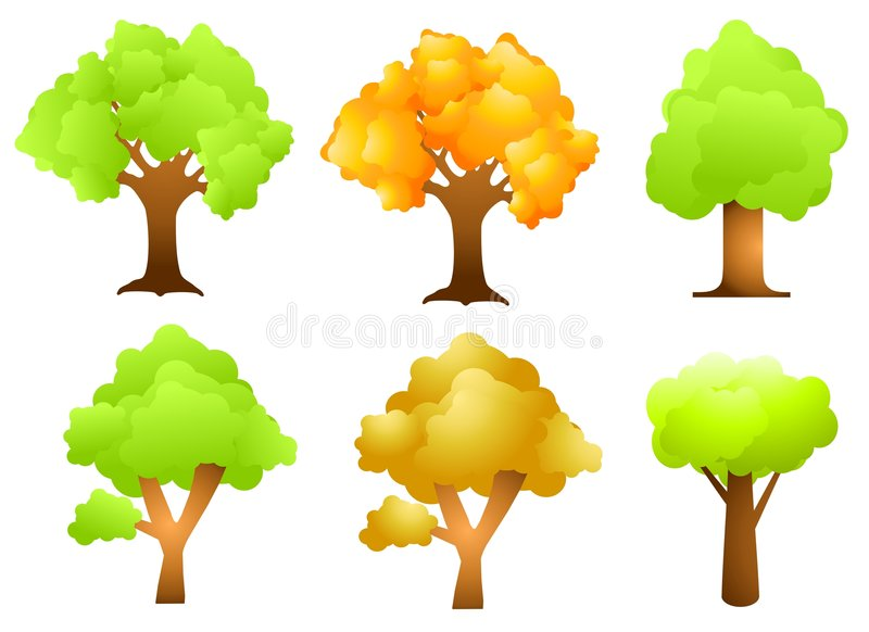 Assorted Trees Clip Art royalty free illustration