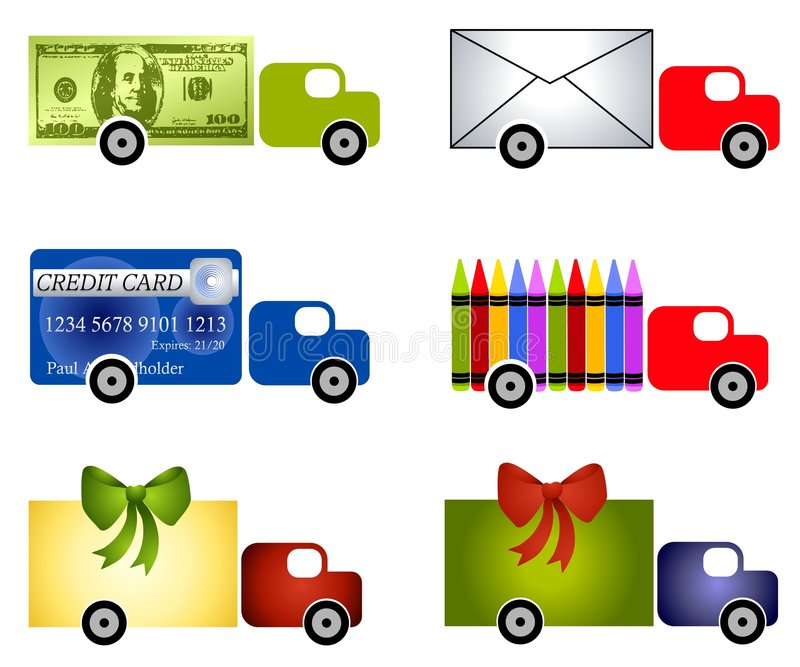 Assorted Truck Clip Art. An illustration featuring an assortment of trucks with themes - money, postal, creative (crayons), gift wrapped stock illustration