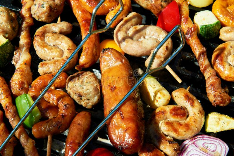 Assorted types of meat and vegetables royalty free stock photography