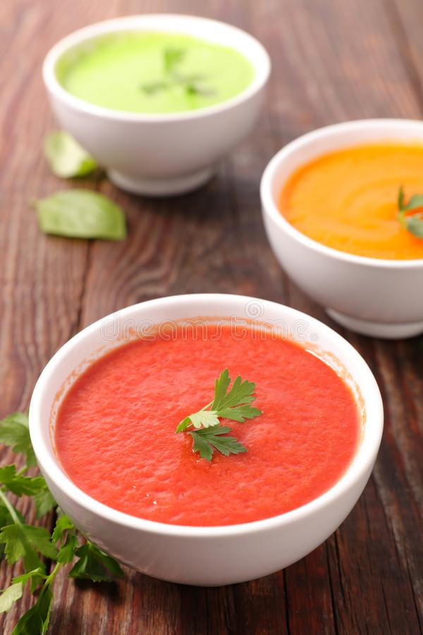 Assorted of vegetable soup- pumpkin, tomato and zucchini stock images