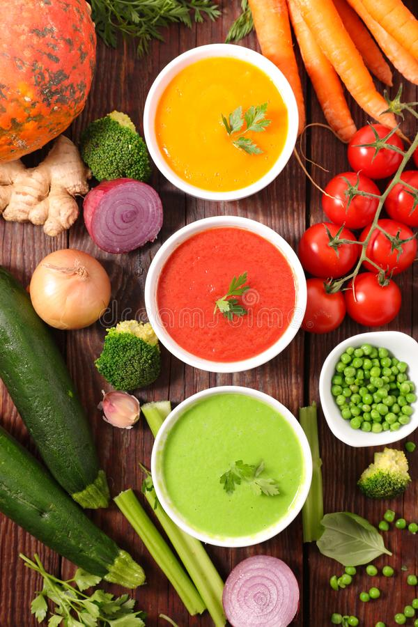 Assorted of vegetable soup- pumpkin, tomato and zucchini stock photo