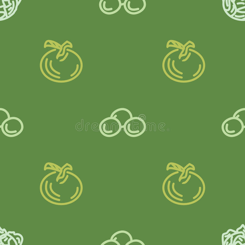 Assorted vegetable vector seamless pattern with tomato and corn stock image