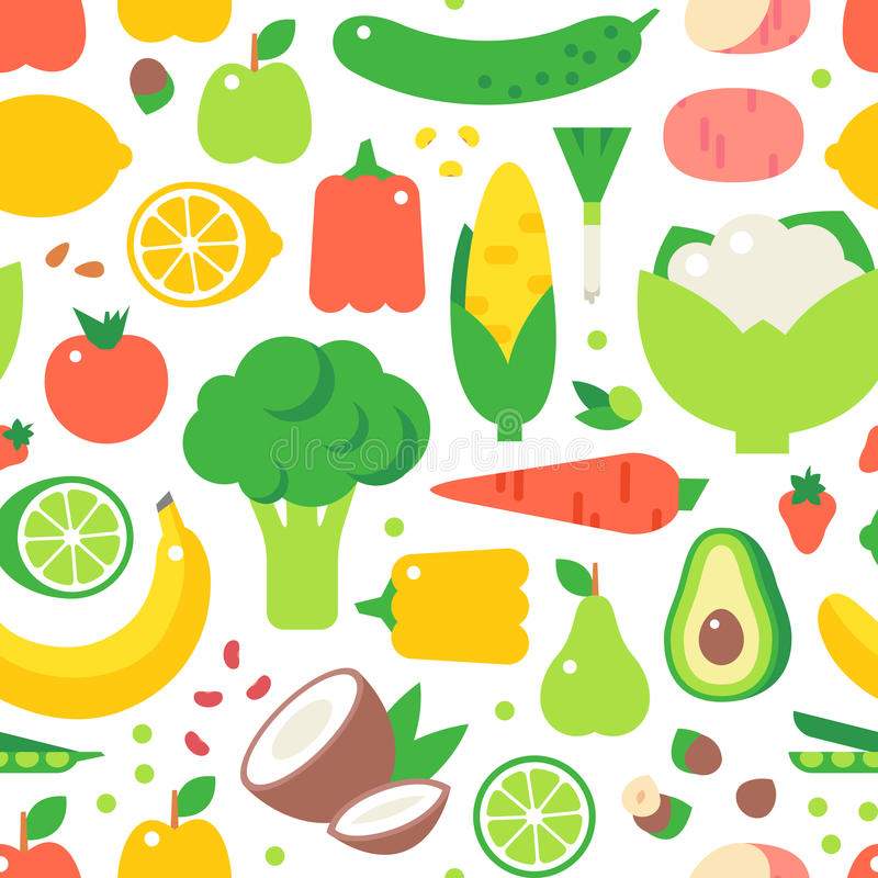 Assorted vegetables healthy food seamless pattern vector. stock illustration