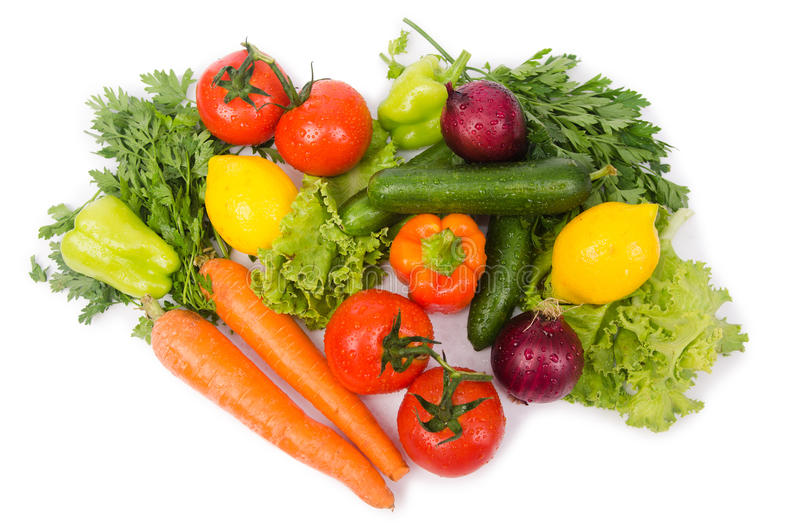 Assorted vegetables isolated on white royalty free stock photo