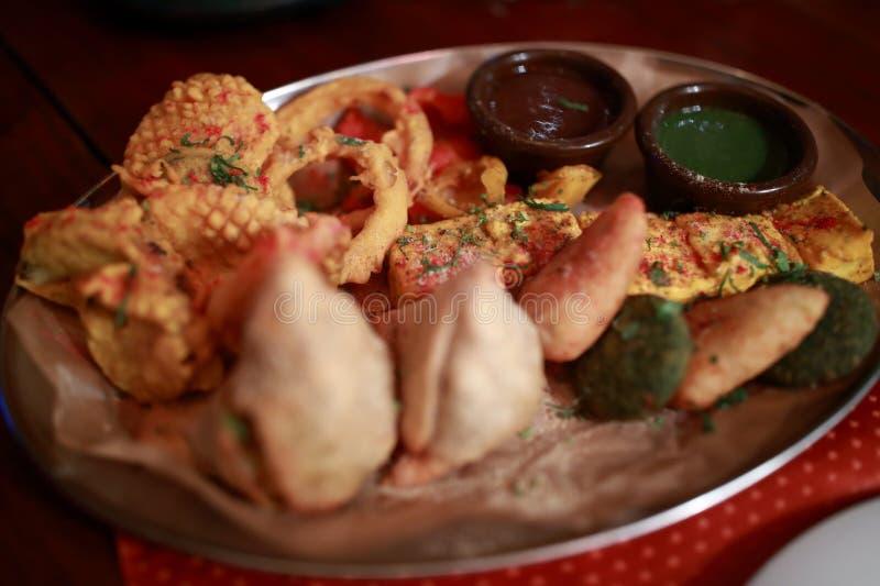 Assorted vegetarian indian food stock image