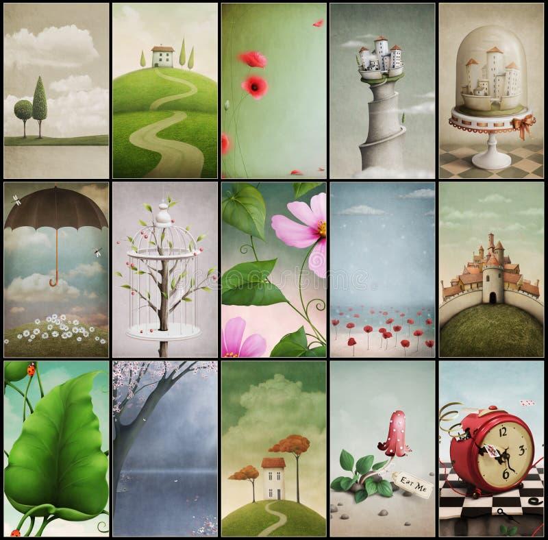 Assorted vintage backgrounds vector illustration