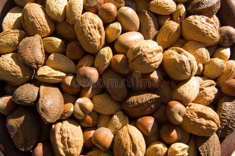 Assorted, whole mixed nuts royalty free stock photo