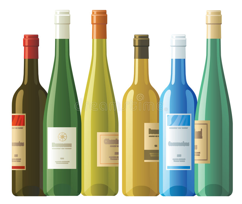 Assorted wine bottles royalty free stock photo