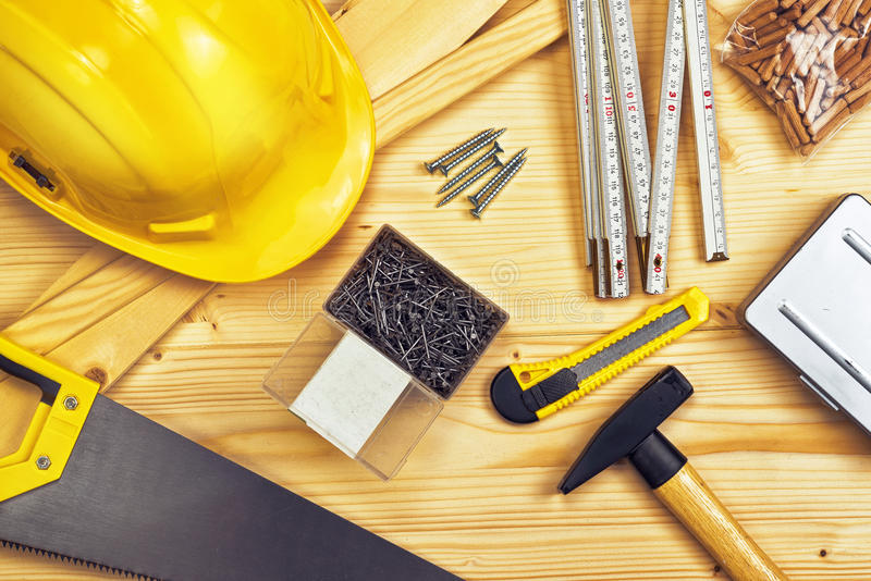 Assorted Woodwork and Carpentry or Construction Tools stock photography