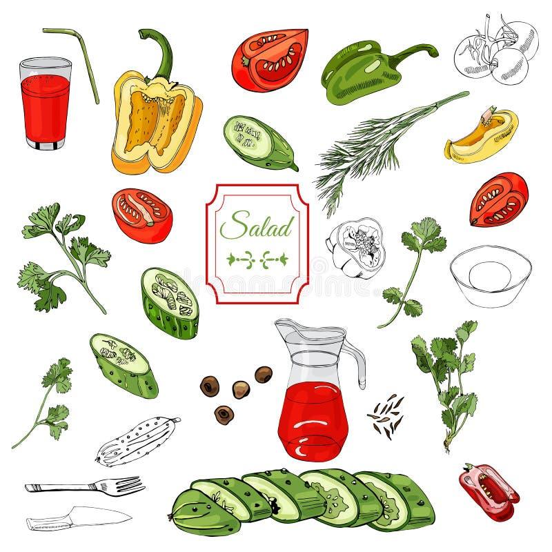 Assorti des légumes Poivrons rouges, verts et jaunes, tomates, concombres et au-dessus de différents encre et éléments de couleur illustration libre de droits