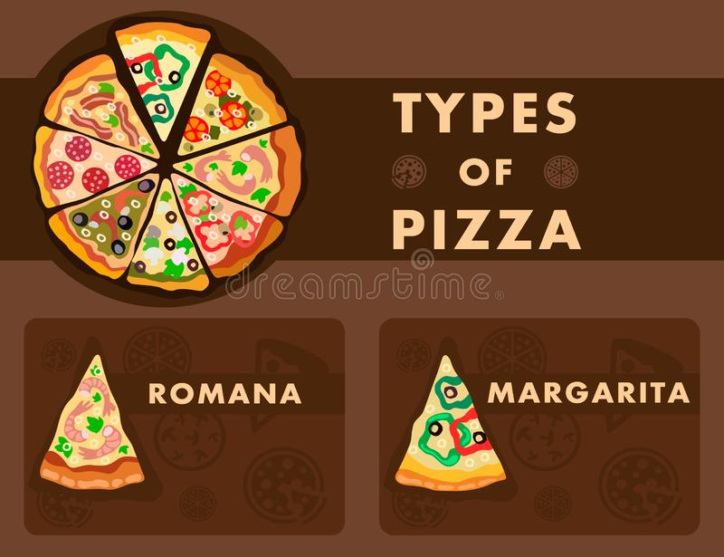 Assorti Pizza Type Poster Flat Vector Template. Brown Background with Italian Dishes Silhouettes Illustrations. Romana and Margarita Slices Closeup. Vegetables vector illustration