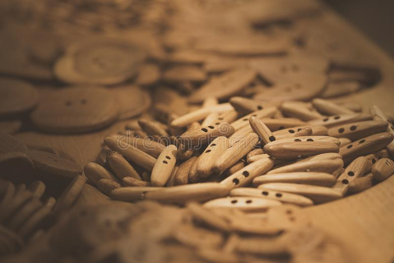 Assorti of the wood buttons. Buttons paradise stock photos