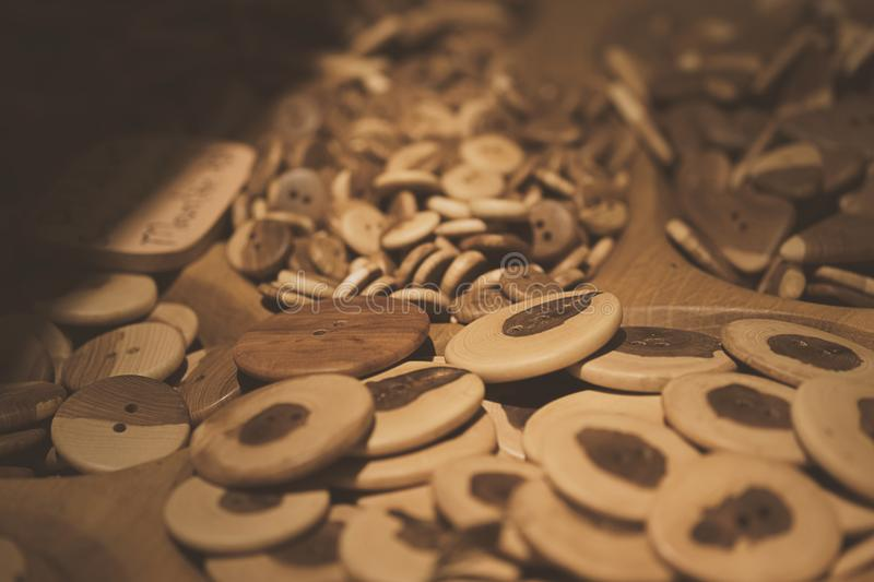 Assorti of the wood buttons. Buttons paradise royalty free stock images