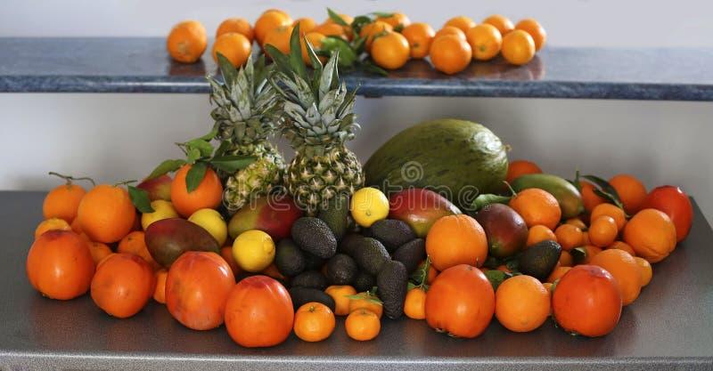 Assortiment des fruits exotiques sur la table photographie stock