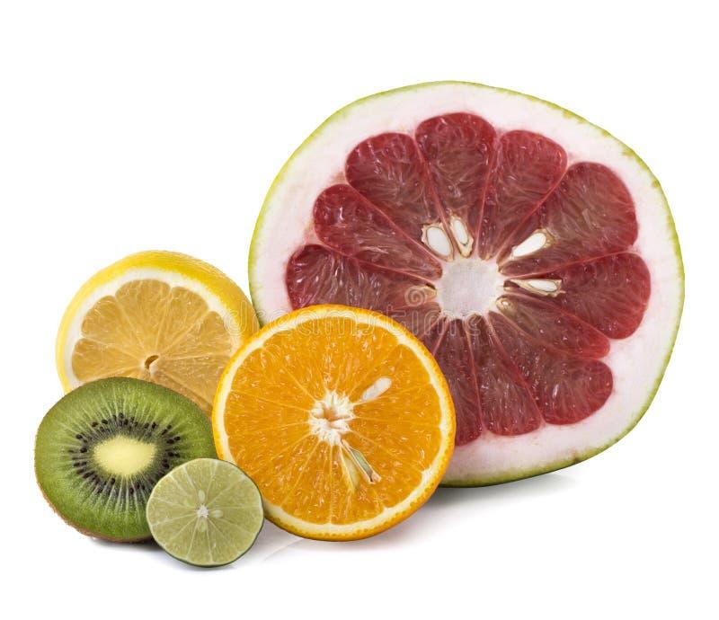 Assortiment des fruits frais exotiques coupés en tranches photographie stock