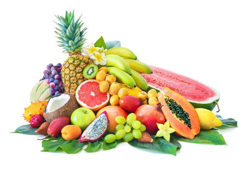 Assortiment des fruits tropicaux avec les palmettes et la fleur exotique photo libre de droits