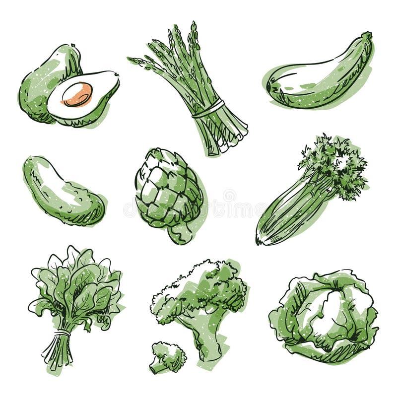 Assortiment des nourritures vertes, du fruit et des vegtables, croquis de vecteur illustration de vecteur