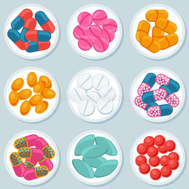 Assortiment des pilules et des capsules dans le récipient illustration libre de droits
