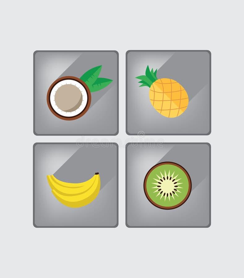 Assortiment plat de conception de fruit tropical illustration stock