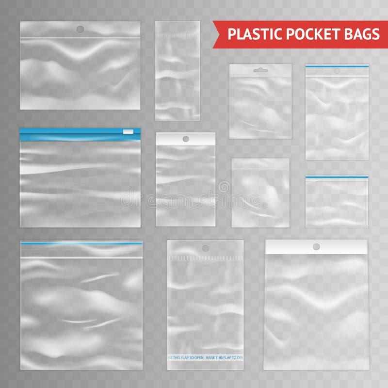 Assortiment réaliste transparent clair en plastique de sacs illustration stock