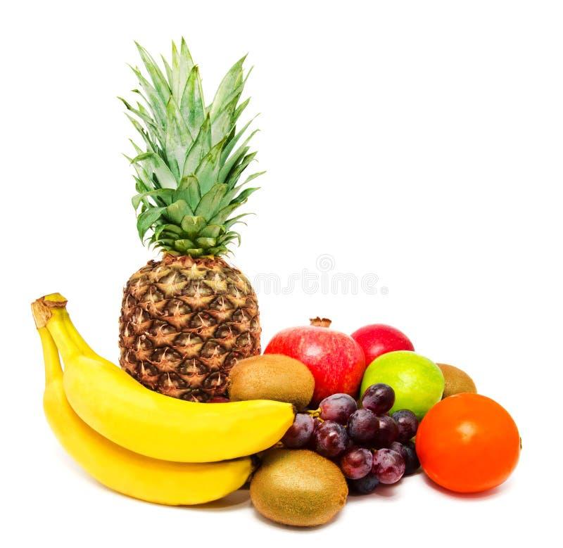 Assortiment van exotische vruchten die op wit worden geïsoleerd royalty-vrije stock fotografie