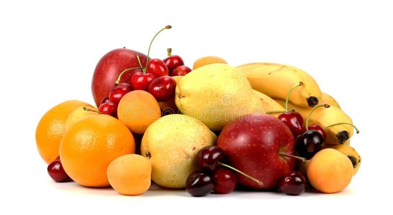 Assortiment van exotische vruchten die op wit worden geïsoleerd stock fotografie