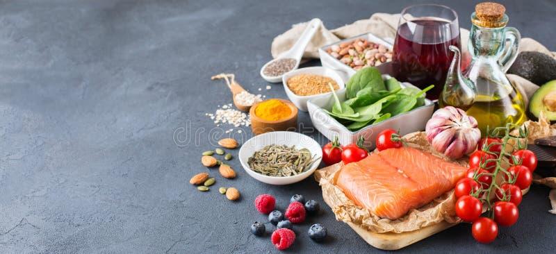 Assortiment van gezonde voedsel lage cholesterol royalty-vrije stock afbeeldingen