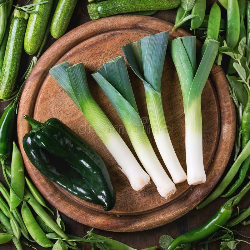 Assortiment van groene groenten stock afbeelding