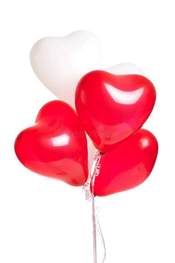 Assortiment van hartballons op wit stock fotografie