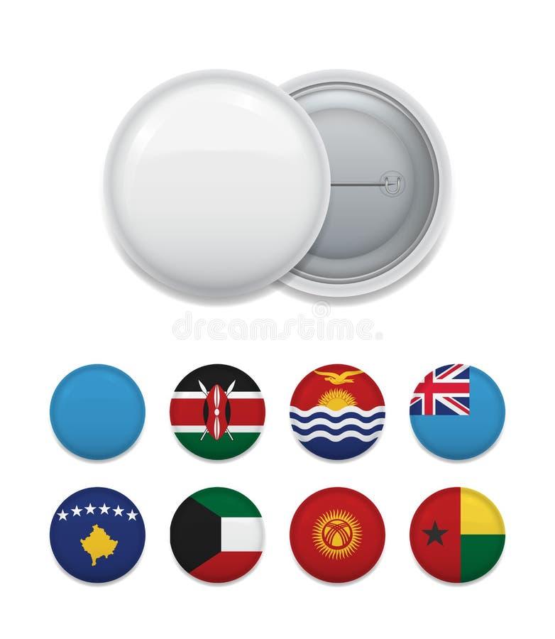 Assortimenten van de vlaggen van het land op kenteken stock illustratie