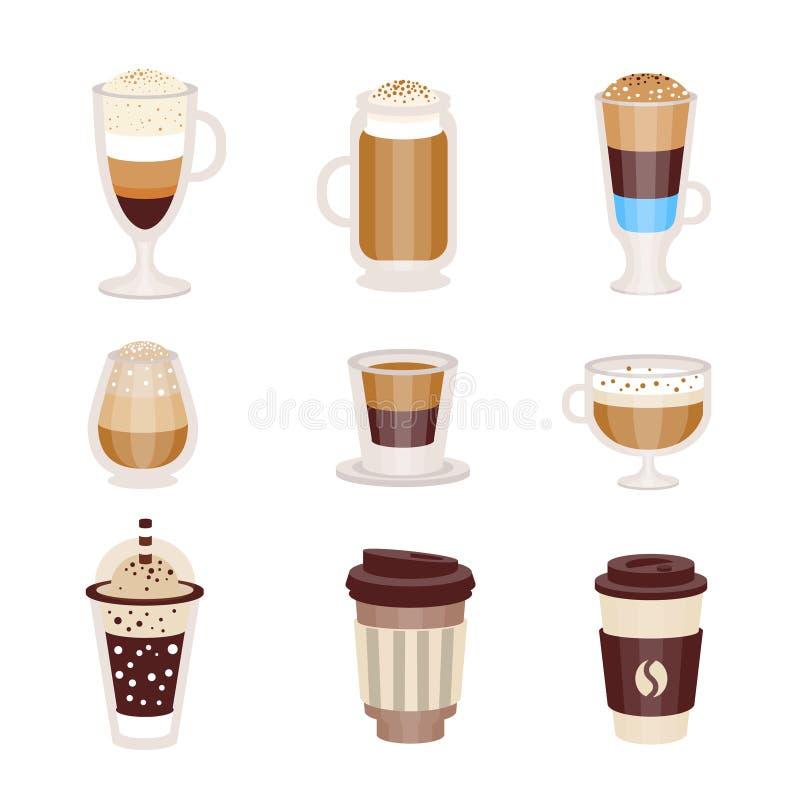 Assortimento caldo e freddo del caffè dei cocktail del menu del caffè della caffetteria, insieme delle icone isolate royalty illustrazione gratis