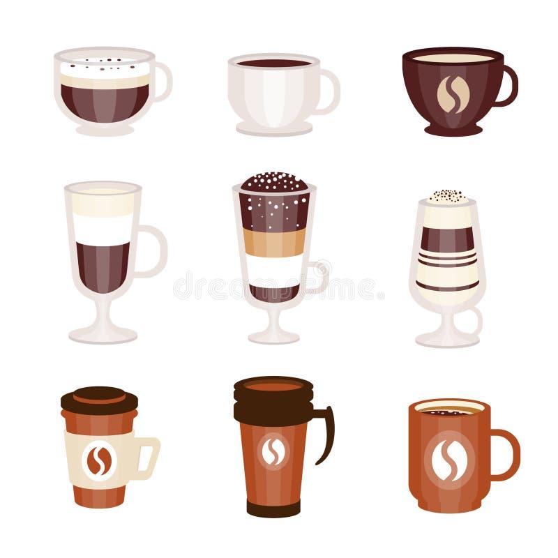 Assortimento caldo e freddo del caffè dei cocktail del menu del caffè della caffetteria, insieme delle icone isolate illustrazione vettoriale
