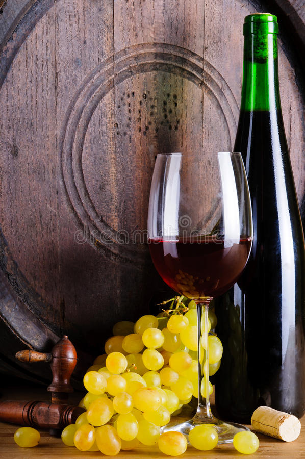 Assortimento con vino e l'uva immagine stock libera da diritti