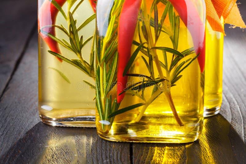 Assortimento degli oli piccanti con le erbe e le spezie in bottiglie differenti immagine stock libera da diritti
