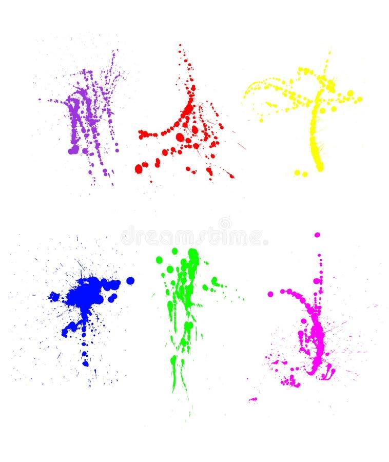 Assortimento degli splatters della vernice illustrazione di stock