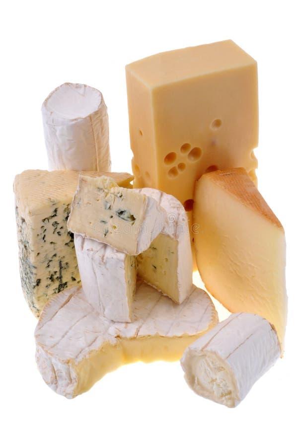 Assortimento dei formaggi francesi su un fondo bianco fotografie stock libere da diritti