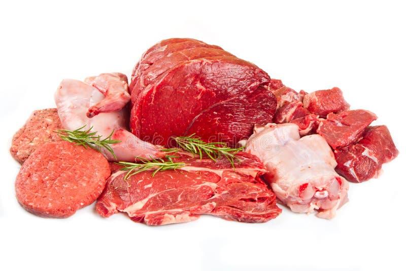 assortimento della carne del taglio del macellaio guarnito immagini stock