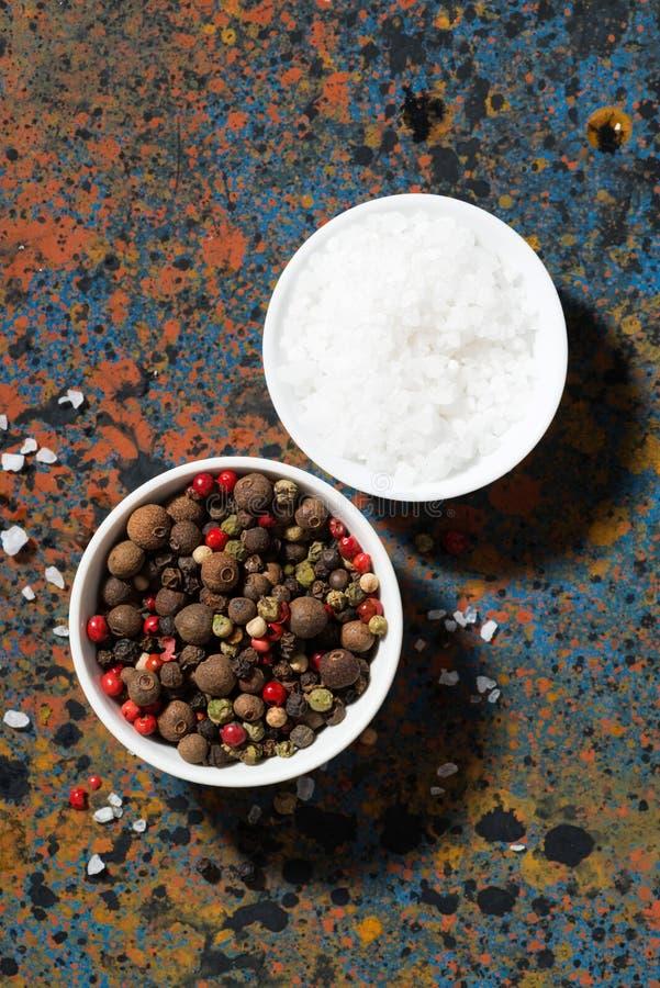 Assortimento di pepe e di sale marino in ciotole su un fondo scuro immagini stock libere da diritti