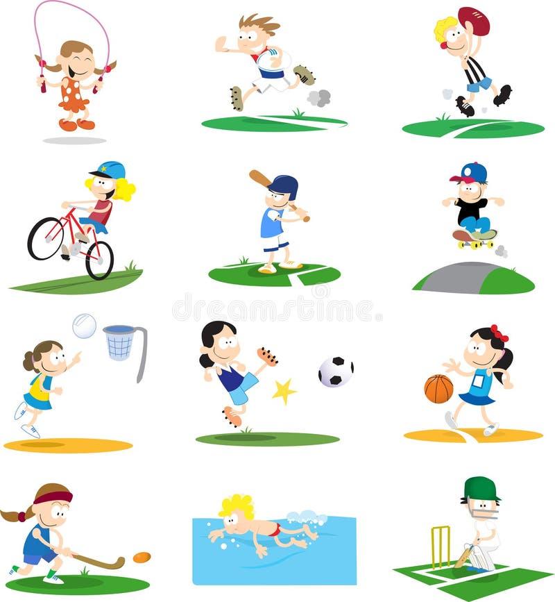 Assortimento sportivo del personaggio dei cartoni animati illustrazione vettoriale