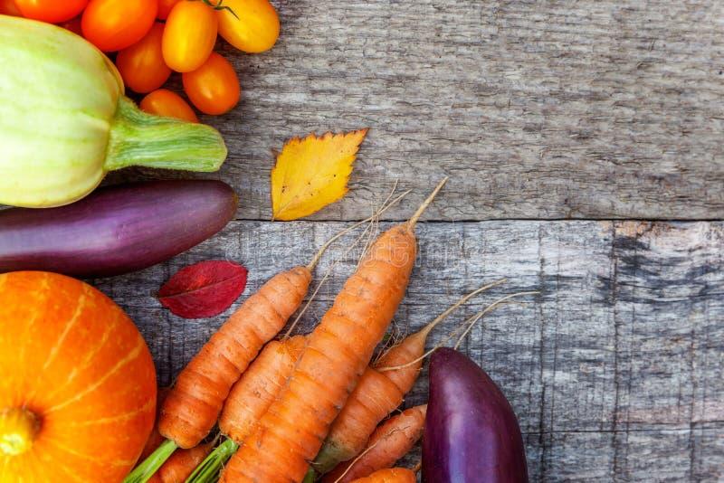 Assortiments verschillende verse organische groenten op de stijl houten achtergrond van het land royalty-vrije stock fotografie