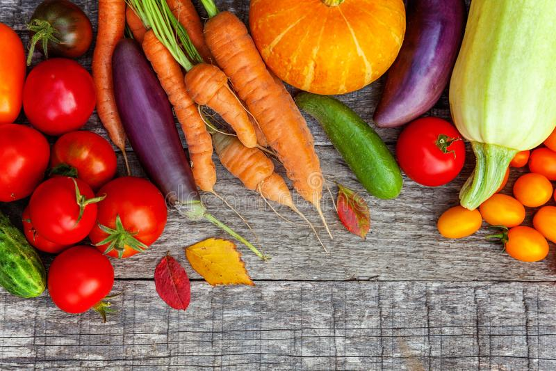 Assortiments verschillende verse organische groenten op de stijl houten achtergrond van het land royalty-vrije stock afbeeldingen