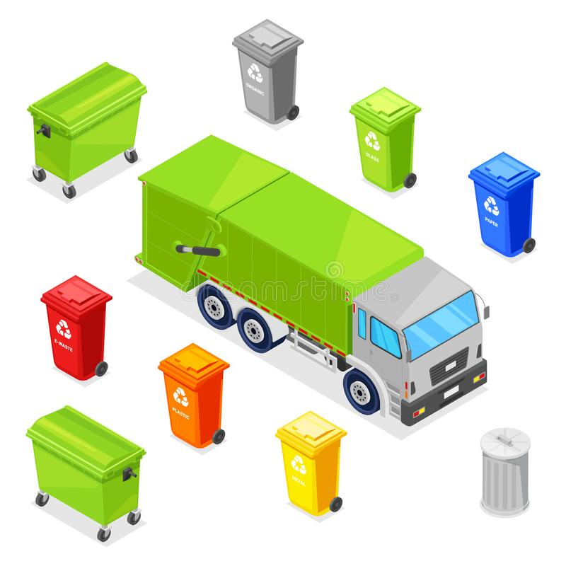 Assortissant et réutilisant des déchets Paniers de déchets, poubelle, récipient et camion à ordures multicolores, icônes isométri illustration stock
