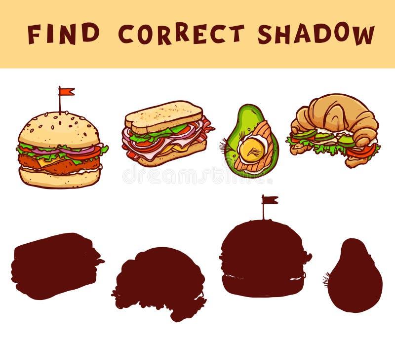 Assortissez le jeu éducatif d'ombre pour des enfants Étude de vecteur avec des illustrations de nourriture illustration stock
